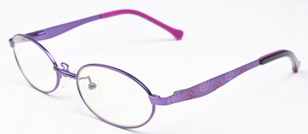 Stainless steel kids eyeglasses frames with blue block lens