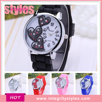 Latest Design Three Heart Fashion Vogue Fancy Bracelet Watch