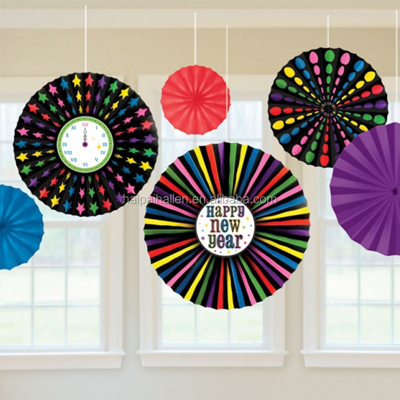 New Year Multi Coloured Hanging paper Fans Party Decorations