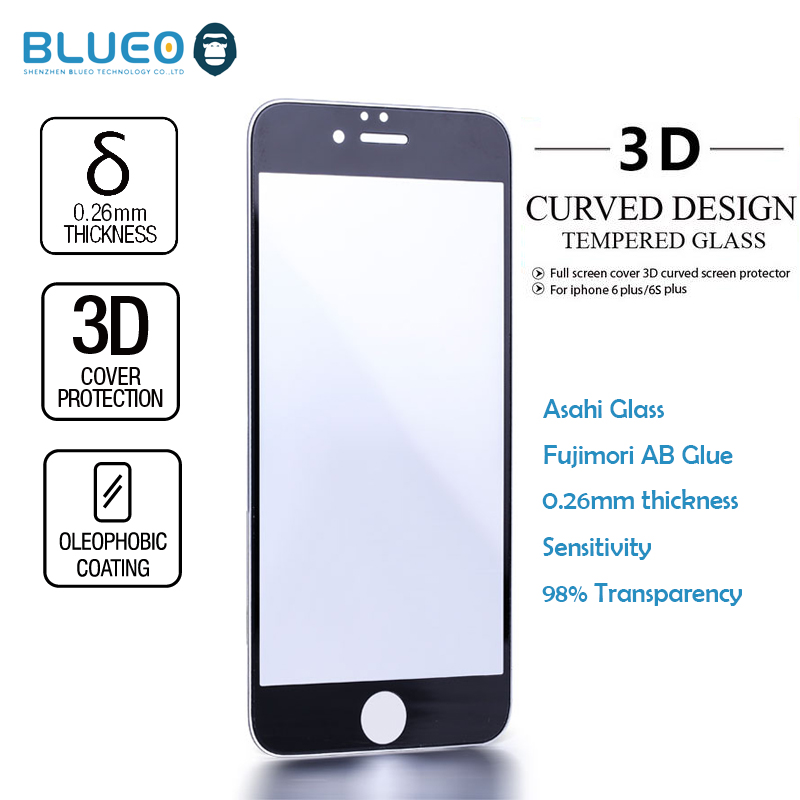 Blueo new hot selling products ARMOR 3D for iphone6 s plus tempered glass film with retail package