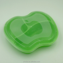Apple shaped 3 compartments plastic microwave food delivery packaging