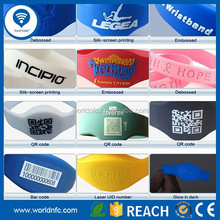 Free sample logo printing passive rfid Silicone wristband for concert