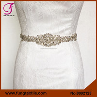 FUNG 8002123 Wholesales Crystal Appliques Bridal Rhinestone Sash For Wedding Dress