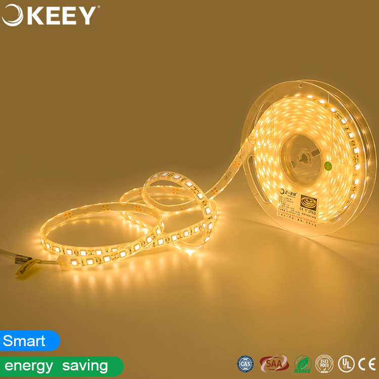 Keey 5050 high bright 12v led soft strip light non-dimmable led 12w per meter 60leds 5 meters per roll warm white