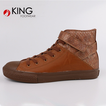 Wholesale Plain Design brown pu high top Men Shoes Sneakers