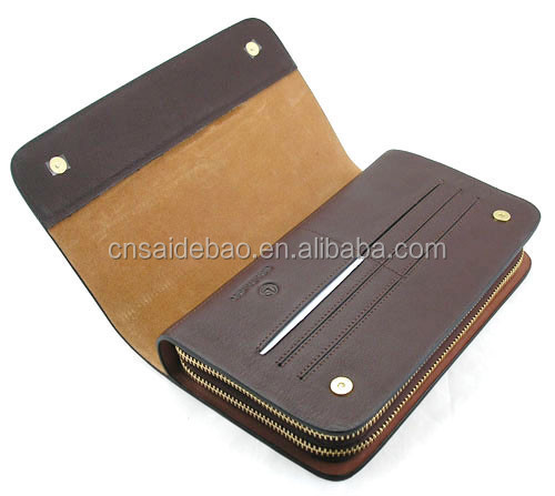 custom genuine leather business man hand wallet
