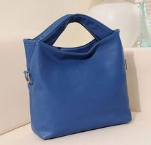 Durable high quality secret blue grain PU tote lady bag