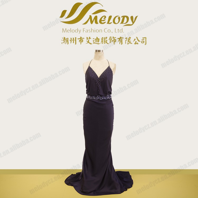 New style backless black beaded waistband and V-neck arabic frock design dress