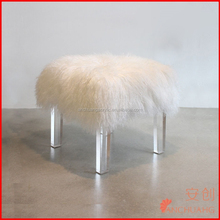 Natural white Mogolian Lamb Fur stool with lucite legs