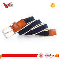 Cowhide ends with woven strap fabric belt