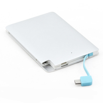 Credit card power bank with built-in cable 2000mah portable charger