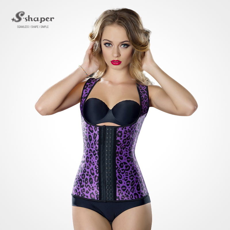 S-SHAPER Animal Print Steel Boned 3 Hooks Latex Girdle Vest Waist Cincher Wholesale Plus Size Rubber Women Corset Waist Trainer