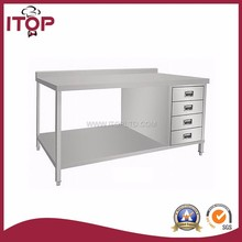 itop stainless steel kitchen working table with 4 drawer