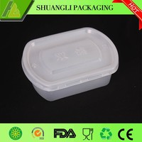 Transparent Disposable plastic food container with flat lid