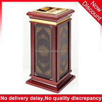 New item With Emboss wooden lobby decorative ashtray square shapes dust bin, garbage bin for sale