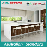 AIS-KC-277 Modular kitchen cabinet, free handle kitchen furniture, melamine kitchen carcass
