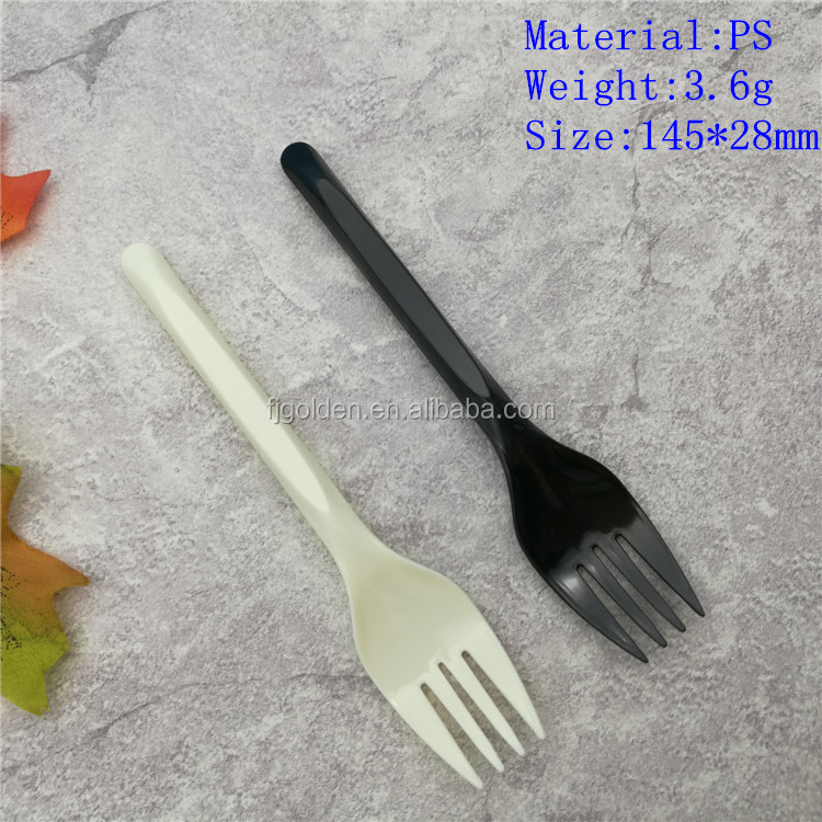 Disposable Black white plastic fork restaurant cutlery bulk