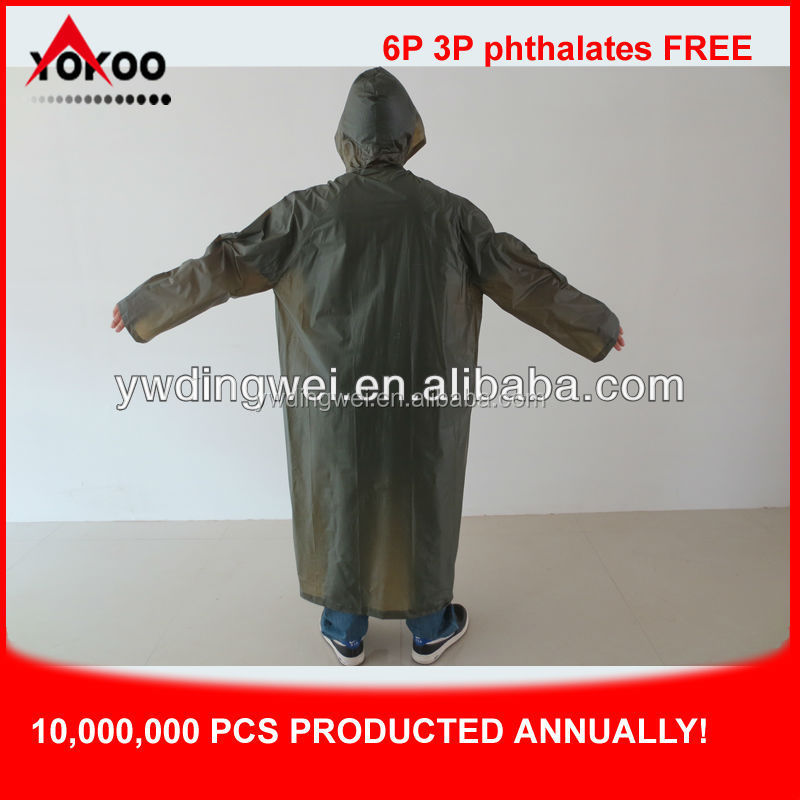 0.10mm popular and durable pvc raincoat/rainwear