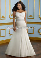 Custom Made Ivory Satin Chiffon Beading Crystal Strapless Mermaid Plus Size Wedding Dress