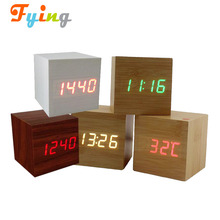 Wooden Alarm Clock, USB Digital Retro Alarm Clock Cube Wood Led Desktop Table Home Decor Mini Travel Clock Voice Sound Control