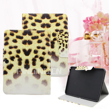 Leopard pattern print leather cover case for Amazon kindle fire hdx 7 case