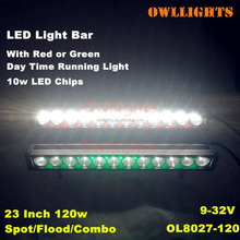 4x4 Guangzhou Offroad Accessories 4WD LED Light Bar Red, Green and White 23inch 120W LED Light Bar 4x4 LED Light Bar