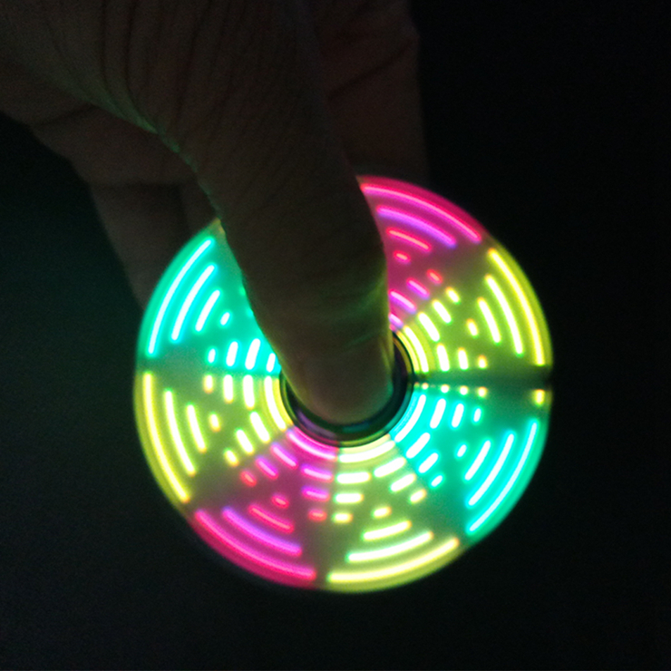 Zinc Alloy Rainbow LED Fidget spinner stress reducer relieves 18 various patterns led hand spinner