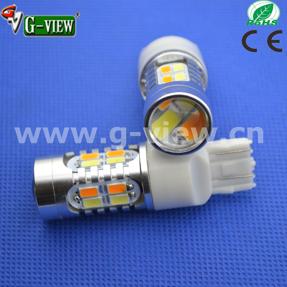 New listing Dual Color 7443 White Amber Switchback 20SMD 5630 auto LED car Tail Brake Light Bulb led