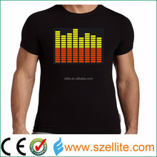 Hottest! Wholesale factory price music active party led equalize t shirt