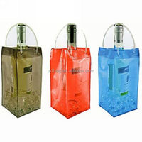 jute/hessian wine bag with transparent pvc,wine cooler bag