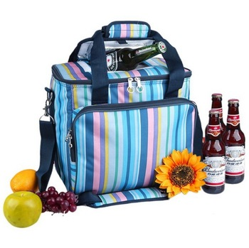 Women printed aliminium foil can bottle cooler compartment picnic travel insulated bag