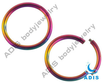 316L stainless steel rainbow segment ring piercing jewelry
