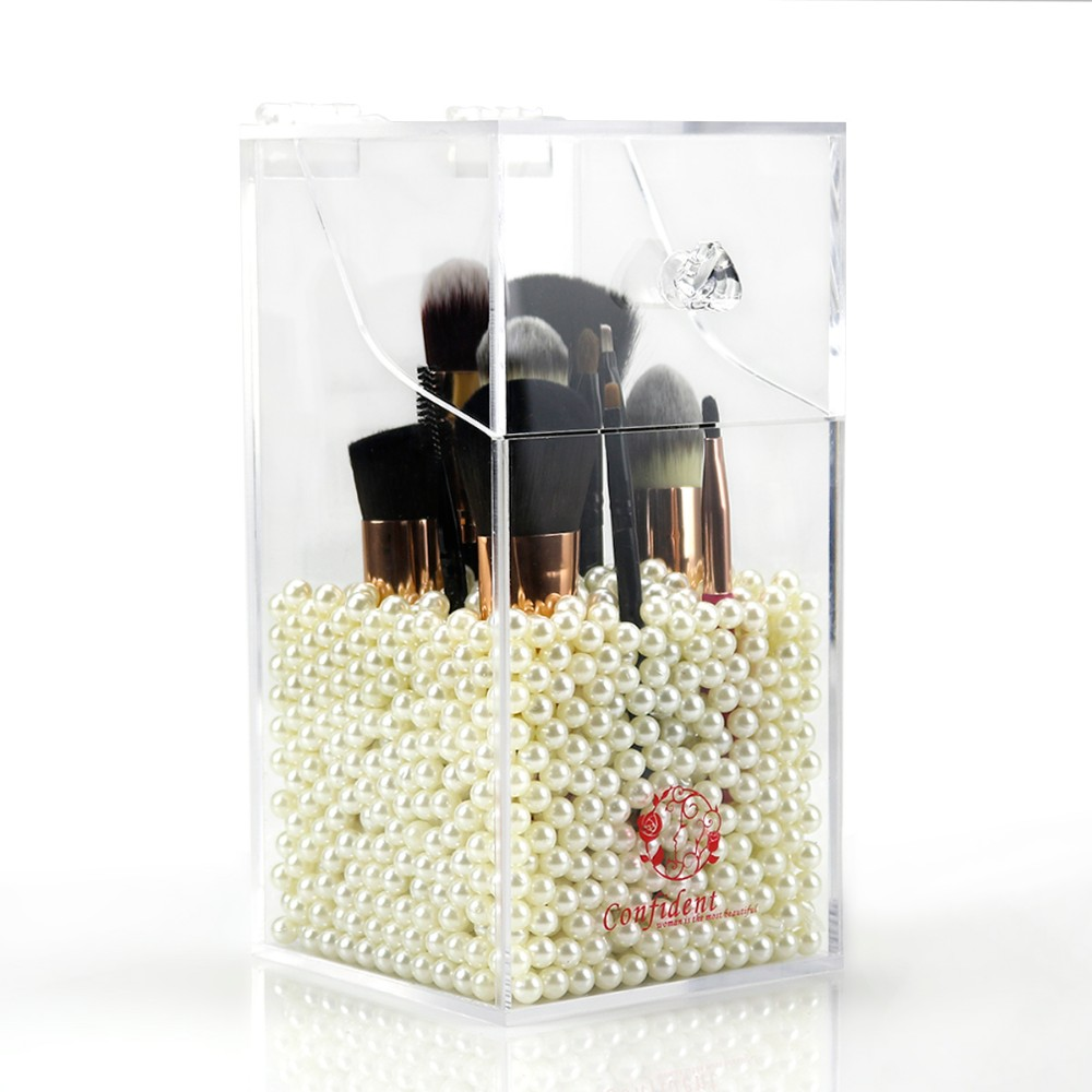 Clear Acrylic Brush Holder Dustproof Make up Organizer