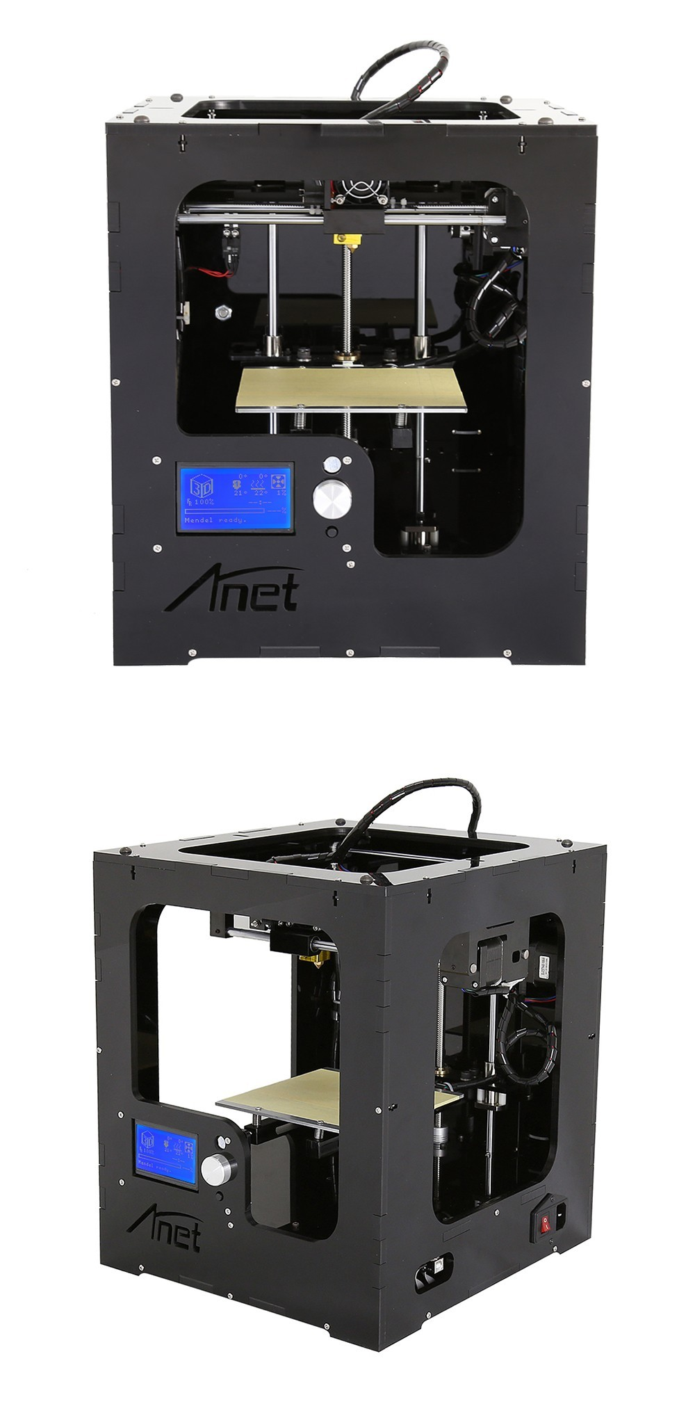 2019 High resolution 3d printer for sale fully assembled metal Anet A3S 3d printer machine large size 150*150*150mm 3d printings