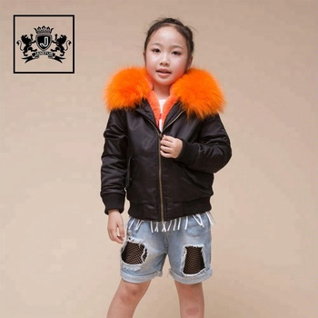 2017 Kids Fashion Style Faux fur Lined Flight Jackets Raccoon Fur Hooded Coat Bomber Jacket