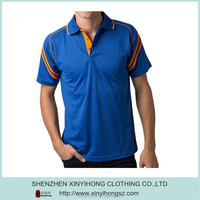 100% polyester Light weight breathable dry fit polo shirts with contrast stripes