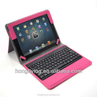 Top quality leather case for iPad 5 with keyboard Red cover