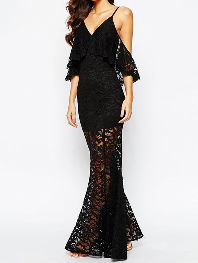 Elegant Black Sexy Long Lace Maxi Evening Dresses