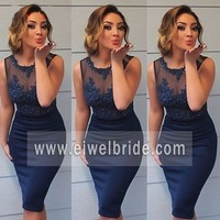 Hot sale beaded navy blue mermaid lace applique sexy short evening dress
