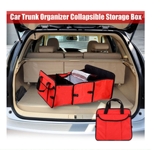Folding Fabric Storage Box 3 Compartments Portable Car Trunk Organizer Auto Supplies Car Back Folding Storage Box Multi-Use Tool