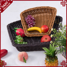 Exqusite woven bread storage tray eco-friendly plastic wicker basket