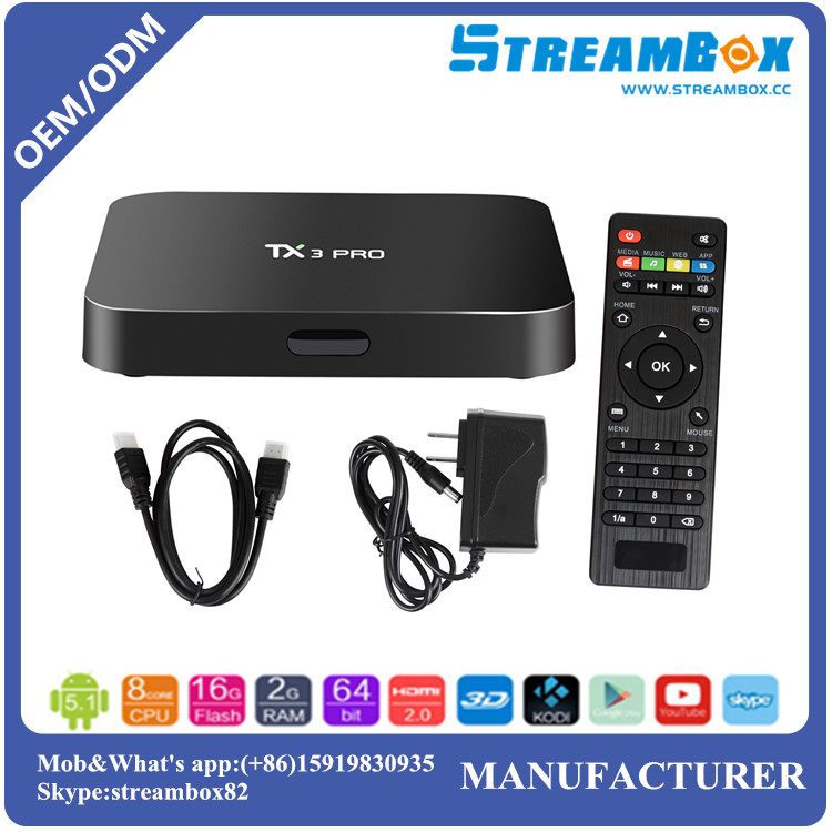 TX3 Pro WiFi Kodi S905x OTT android smart tv box with free android download google play store