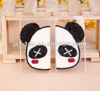 lover panda pearl diamond couple case for iphone 4