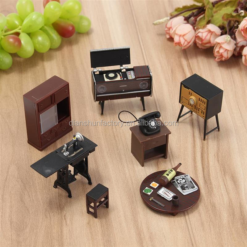 7 pcs / set 1:12 Wooden Simulation DIY Doll House Miniature Doll House