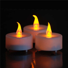 Yellow Flickering LED Tea Light Battery Candles Flameless Wedding Xmas Party