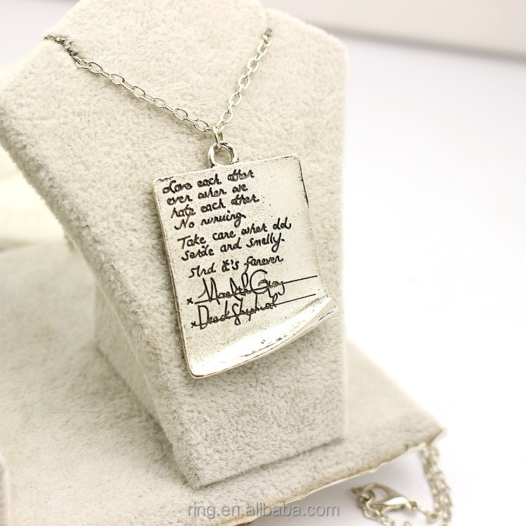 New Arrival Once Upon a Time The Story Book Letter Pendant Vintage Necklace Cheap Wholesale Simple Style Women Chain Necklace