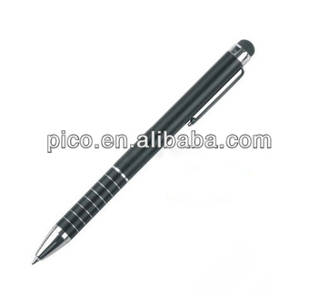 cheap classic black 2 in 1 metal stylus touch screen pen with customized logo
