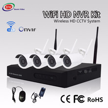 H.264 4CH WIFI NVR Kit 4 Channel HD Wireless Outdoor Camera Home Security System