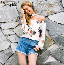 Simplee 2017 summer floral print latest fashion blouse design for streetwear
