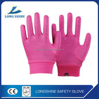 Best price pink 100% cotton silk women daily life hand gloves liner custom in china